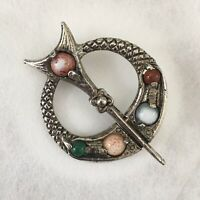 Vintage Celtic Scottish Brooch Penannular Silver/Pewter Toned Agate Stones