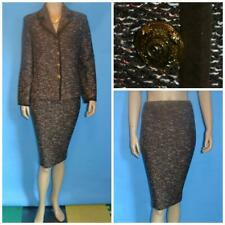 St John Collection Brown Red Jacket Skirt L 14 12 2pc Suit Buttons Suede Trims