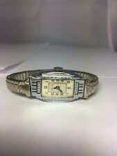 Vintage Women's Bulova Watch Art Deco Silver Tone Swiss Mechanical Working