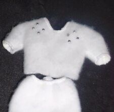 VINTAGE BARBIE DOLL CLOTHES WHITE SWEATER AND SKIRT LABELED