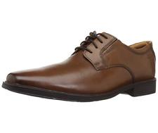Clarks Mens Shoes TILDEN PLAIN Oxford Dark Tan Leather UK 9.5 / 44 Wide Fit