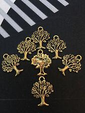 PJ333/8pc Tibetan Gold  Dangle Charm TREE Beads Jewelry Findings