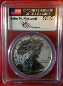 2012-S $1 American Silver Eagle Reverse Proof 75th Ann PCGS PR69 Mercanti
