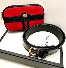 Gucci Small Ophidia Red Suede Belt Bag Black Trim 85cm New In Box $845 Retail