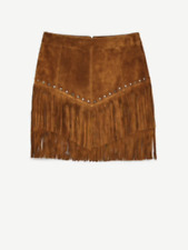 ZARA GENUINE SOLD OUT FRINGE LEATHER SKIRT BNWT XS BROWN BLOGGERS FAVE