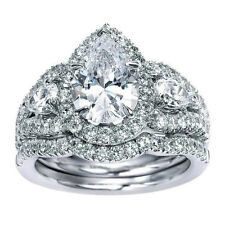 2.00Ct Pear Shape White Diamond Halo Engagement Wedding Ring Set 14K White Gold