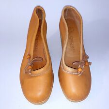 Vintage Cherokee Of California Size 6 1/2 Platform Wedge Leather Shoes 1970 80s