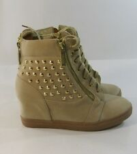 "new nude /Gold stud 3"" hidden wedge heel round toe ankle boot  size  6"