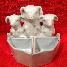 Antique French 3 Little Pigs Open Salt and Pepper Cellar c.1800's, p175