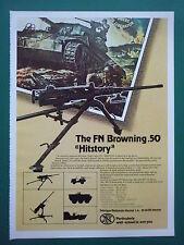 6/1978 PUB FN HERSTAL MITRAILLEUSE BROWNING.50 MACHINEGUN WWII TANK ORIGINAL AD