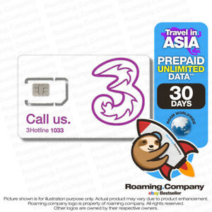 🚀 ASIA 30DAY UNLIMITED DATA Prepaid Travel SIM Roaming No Contract 3GB4G NEW