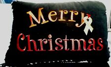 """Noble Home Fashions Jet Black Embroidered Merry Christmas Pillow 17""""x12"""" Cancer"""
