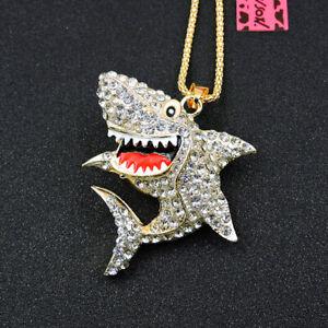Betsey Johnson White Rhinestone Cartoon Shark Pendant Sweater Chain Necklace