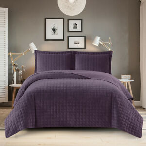 Plush Velvet Luxurious Soft Warm Cozy Bedspread Set Check Stitching Quilted