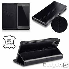 Genuine Real Leather Wallet  Professional Business Case Sony Xperia X Black
