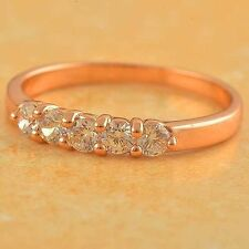 Dazzling 9K Rose Gold Plated clear crystal Womens Ring,size 7 Shipping Free