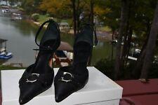 Black Christian Dior high heel pumps CD silver embellishment sz 36.5
