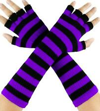 Purple & Black Stripe Fingerless Gloves Arm Warmers Goth Punk Emo Alternative