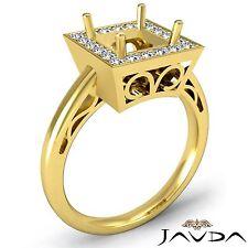 Halo Semi Mount 0.36Ct Diamond Engagement Princess Filigree Ring 18k Yellow Gold