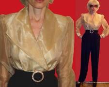 J.R. Nites by Caliendo black & sheer gold jumpsuit long sleeve rhinestone belt 4