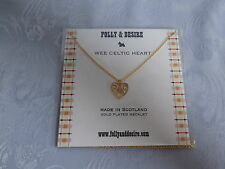 GOLD PLATED 'WEE CELTIC HEART' CELTIC HEART NECKLACE / NECKLET 46CM CHAIN GIFT