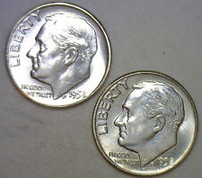 1958 1958 D Silver UNC BU Roosevelt Dime Ten Cent Coins from Nice 10c Roll #R