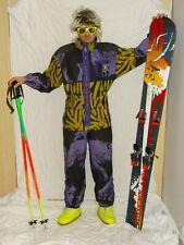 WOLF SUIT PURPLE Retro Vintage 80's 90's Ski Suit Neon Apres Ski UK14 SUIT2