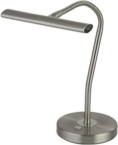 Searchlight Bow LED Touch Table Lamp Flexi Head, Metal Satin Silver
