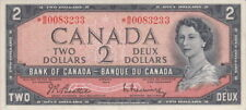 1954 BANK OF CANADA $2 DOLLAR *B/B 0083233 REPLACEMENT NOTE