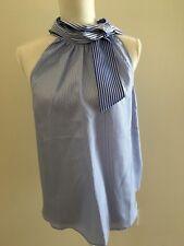 J. Crew Women Sz 14 Tie Neck Sleeveless Halter Top Blouse blue pin strips NWT