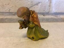 Vintage Anri Fernandiz Italian Kneeling King Woodcarved Figurine Nativity Set