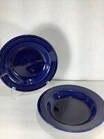 """Set Of 2 ~Fiesta ware Homer Laughlin China 8.75"""" Salad/ Pasta/ Soup Bowls- Blue"""
