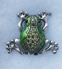 New Green Frog Silver Tone Rhinestone Clip Style Pin Brooch Gift