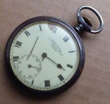 Cyma pocket watch, gun metal 50mm case, John Elkan Liverpool St, London.
