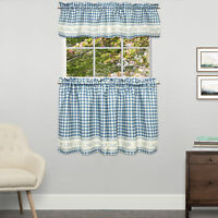 Gingham Stitch Live Laugh Love Kitchen Curtain Tier Pair or Valance Blue