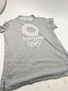 Tokyo 2020 Olympic official emblem Unisex T-shirt asics Gray   Japan Sz M