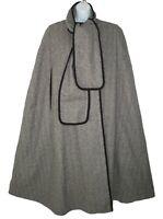 1960's Vintage Wool Cape Alorna Cloak Coat Tie Neck