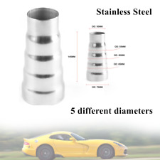 Car Stainless Steel Exhaust 5 Step Reducer Adapter Connector Pipe Cone Durable