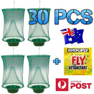 30 PCS Fly trap insect net cage, hanging bug catcher PLUS attractant