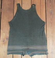 Vintage 1920s Forest Green Wool Knit Swimsuit Stripes Antique Bathing Suit Beach