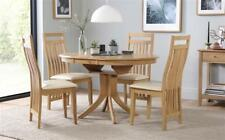 Hudson & Bali Round Extending Oak Dining Table and 4 6 Chairs Set (Ivory)