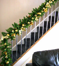 Luxury 1.8m Extra Wide Gold Bauble Poinsettia Bow Christmas Garland Swag 6ft ***