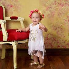 Newborn Baby Girls Sleeveless Dress Tassels Vest White Mini Beach Dresses 1T