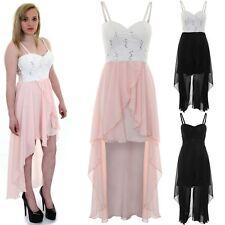 Womens Strappy Padded Bra Cups Chiffon Lace Fishtail Dipped Hem Maxi Dress