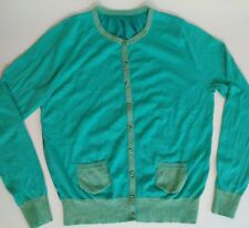 Mint Green Cardigan Womens Small Medium No Size Tag Gold Accents Front Pockets
