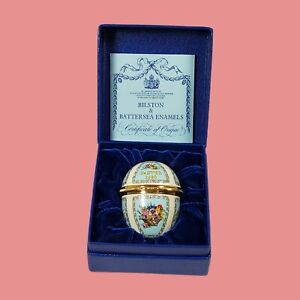 Vintage Halcyon Days Enamel Easter Egg 1990 Hinged Trinket Box Floral Bouquet
