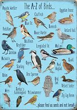 A-Z of Birds small steel sign 200mm x 150mm (og)