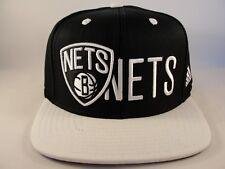 Brooklyn Nets NBA Adidas Snapback Hat Cap Black White