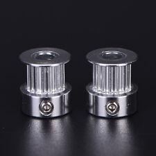 2x GT2 16 T Zähne 5mm Bohrung Aluminium Zahnriemenscheibe Für 3D Drucker GutD*