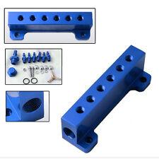 Aluminum Turbo Wastegate Bosst Vacuum Intake Manifold 6 Port 1/8 NPT Blue